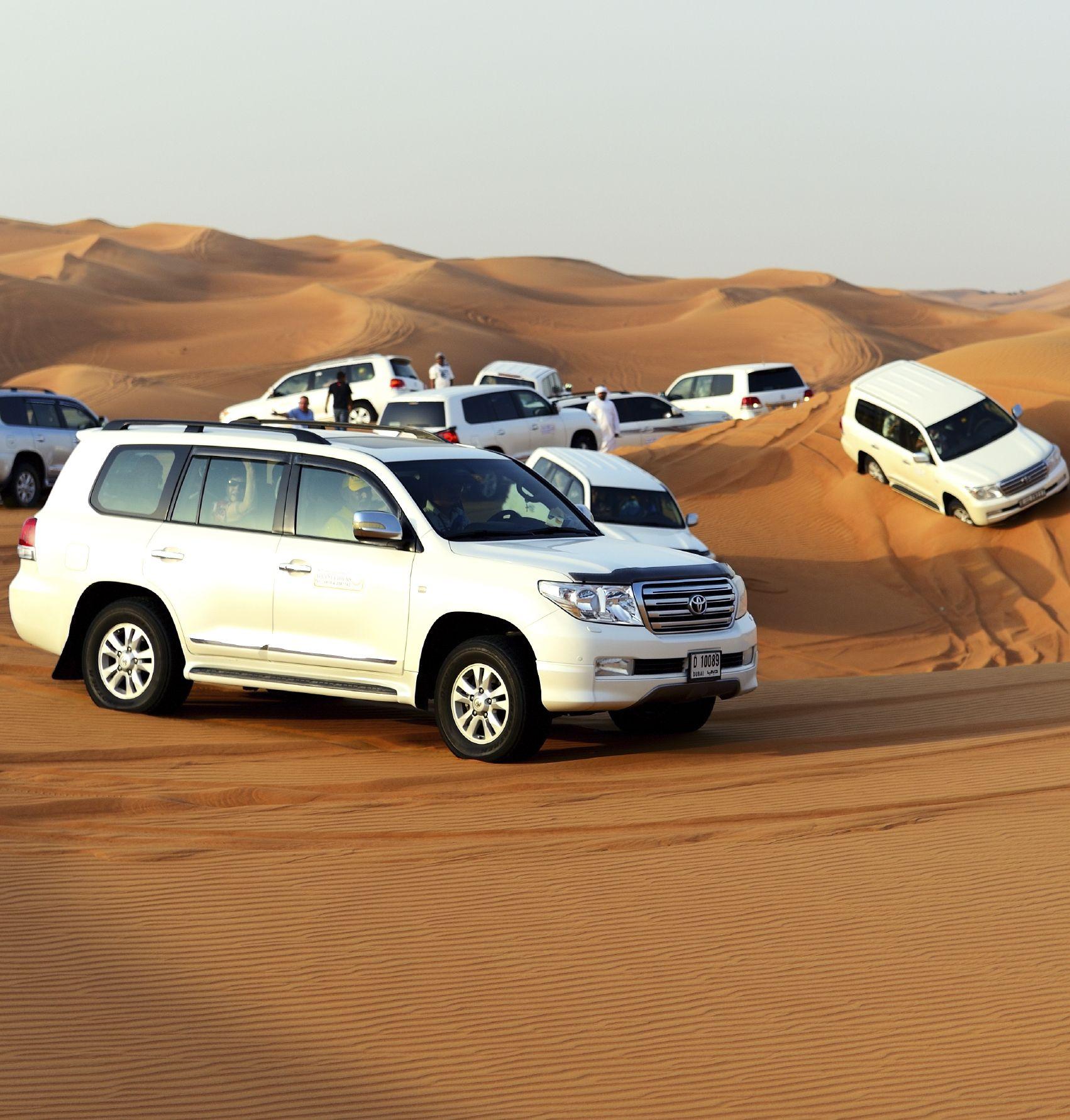 DUBAI, UAE - SEPTEMBER 12: The Dubai desert trip in off-road car